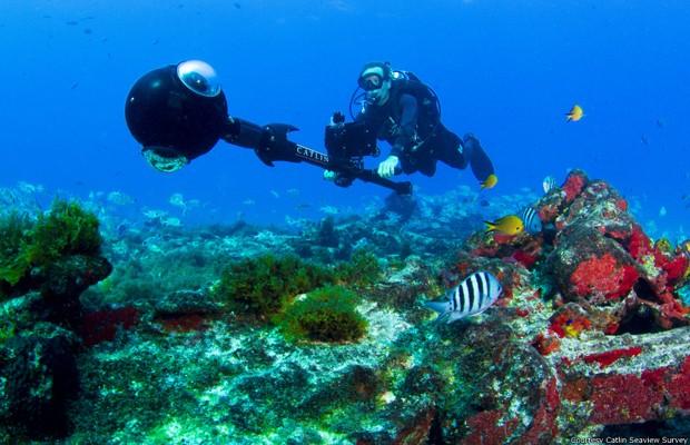 Fernando de Noronha foi o ponto de partida do mapeamento subaquático no Brasil. (Foto: Divulgação/Catlin Saeview Survey)