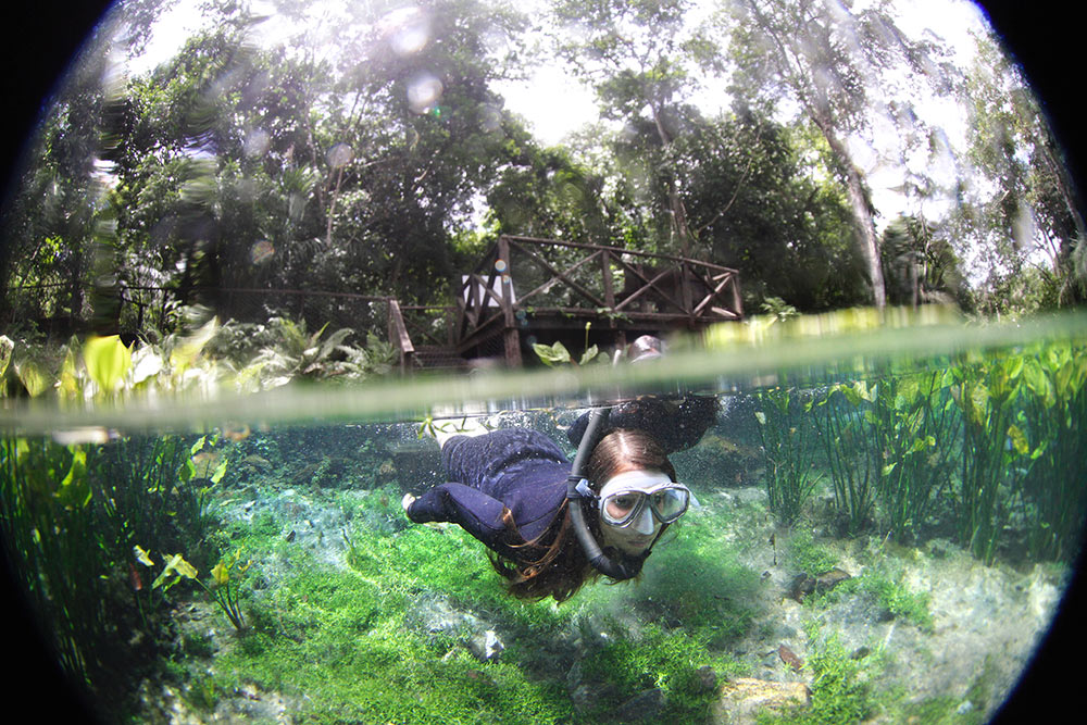 A flutuao na Nascente Azul, em Bonito