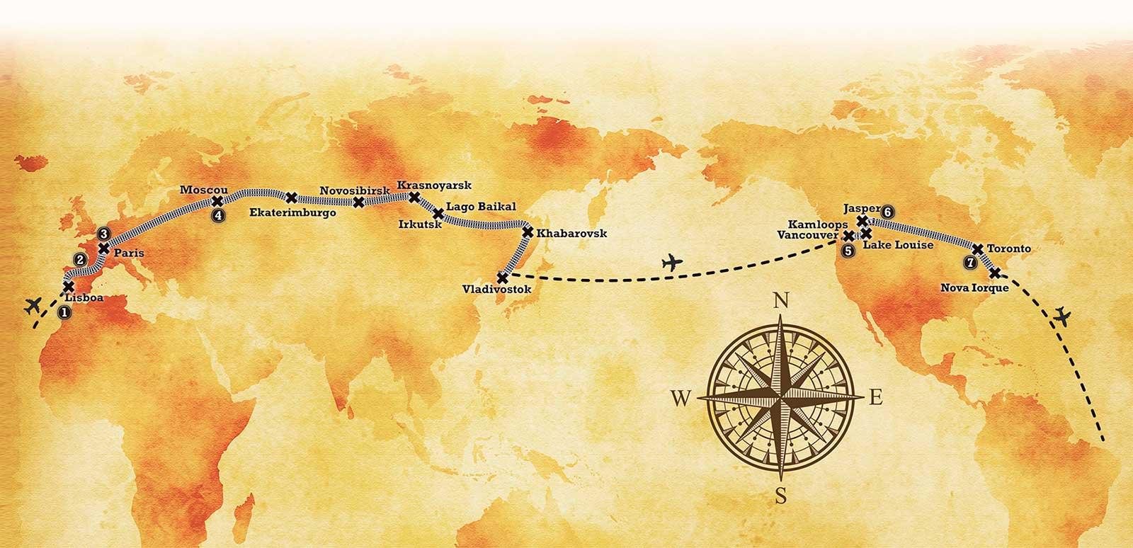 O roteiro abrange trs continentes com servios de hospedagem e entretenimento em Portugal, Frana, Rssia, Canad e EUA