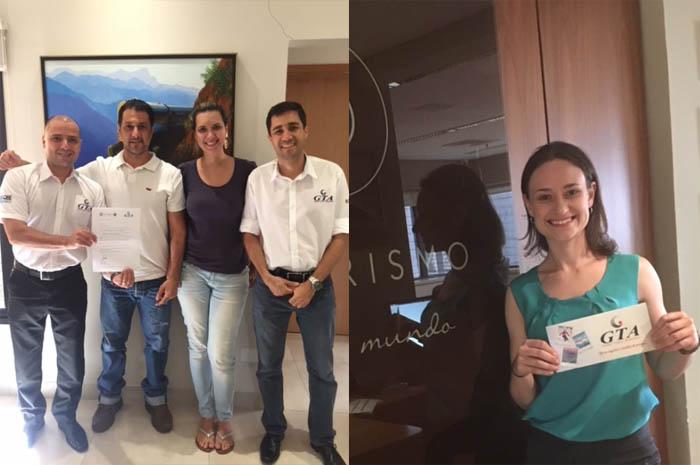 esquerda; Cesar Barbieri, representante da GTA em Ribeiro Preto e regio, Richard Feres e Beatriz Moretto, da Ventorum; e Wilter Furtado Filho, executivo de contas da GTA. Foto  direita, Fernanda Handke, da OP Turismo