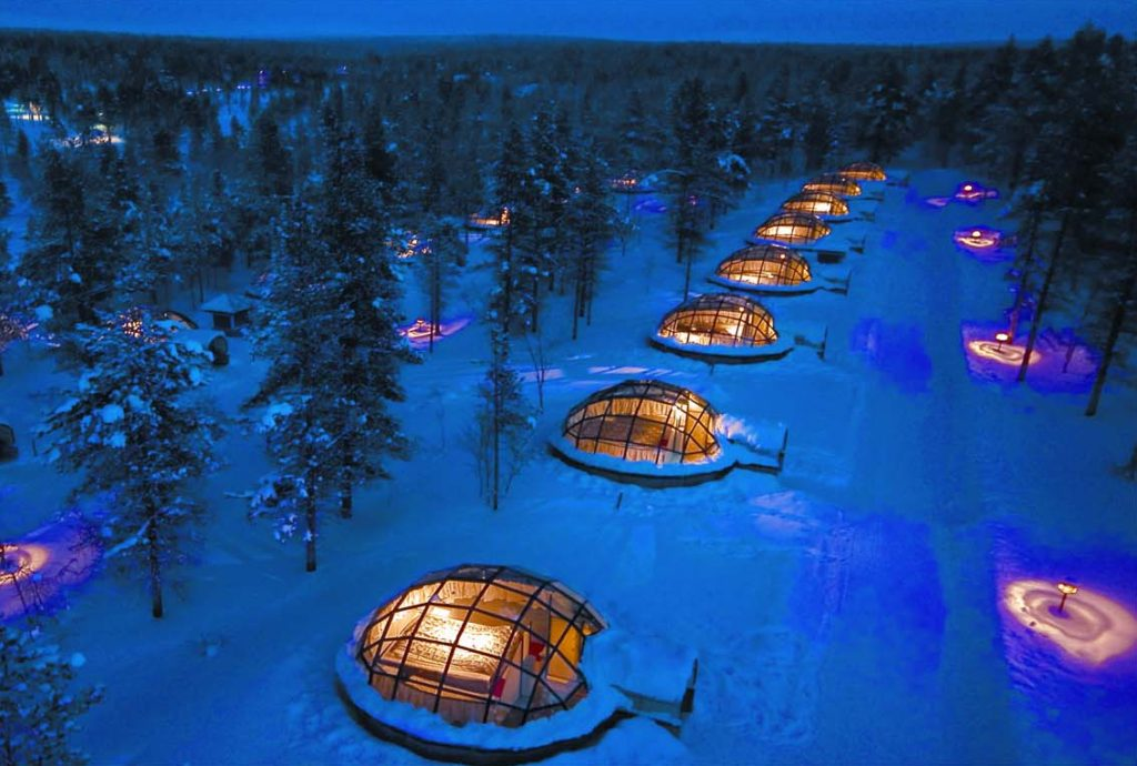 Iglus de vidro do Kakslauttanen Arctic Resort, no norte da Finlndia